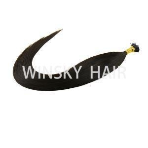 China Pre-Bonded Indian Remy Silky Straight I-Tip Human Hair Extensions 51cm #1b