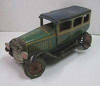 Prewar Antique Japanese Vintage Green Passenger Car Clockwork Old Litho Tin Toy