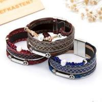 Buy cheap Pleasant And Enjoyable PU Leather Pearl Wax Rope Magnetic Bracelet from wholesalers