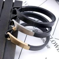 Buy cheap Cheap Double Layer Leather Bracelet With Plated Stainless Steel Hook Clasp from wholesalers
