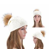 China Fashion Light Grey Color Beanie Big Fur Pompoms Men Winter Knitted Hat Patterns for Women on sale
