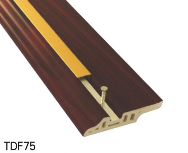 China CK Surpass Wood Luxurious PVC Skirting Boards Decorated By Aluminium Line Num: TDF75
