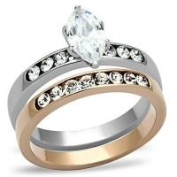 China Stainless Steel Two Tone Clear Marquise CZ Wedding Ring Sets, MITK96507022 on sale