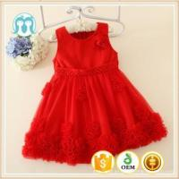 Buy cheap 2015 Autumn Korean kids clothes wearing children sleeveless red flowers girls puffy dresses on sale from wholesalers