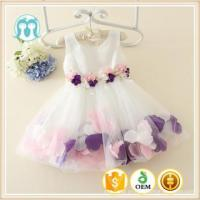 Quality latest summer children frock design white party dress flower girl dresses with flower for sale