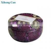 Quality wholesale custom printed emboss small round new scented soy candle tin box for sale