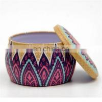 Quality Manufacture decorative metal round scented soy travel candle tin containers for sale