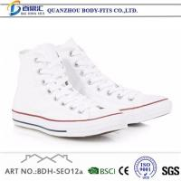 China White Flat Canvas Sneakers Shoes for Mens Low and High Top Trainers on sale
