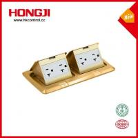 Quality Rectangular Brass Two Gang Pop Up Floor Socket Box With Power Outlet for sale
