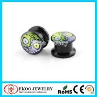 China Black Acrylic Half Green Purple Zombie Face Screw Ear Tunnel Plug on sale