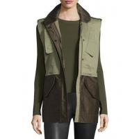 China Rag & Bone Kinsley Cotton Colorblock Vest Army Green Women Apparel Jackets on sale