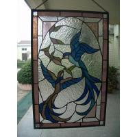 China LAMP BASE SL147-bird hanging stained glass panel on sale