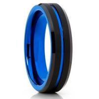 Quality 6mm tungsten womens mens gold wedding bands blue and black for sale