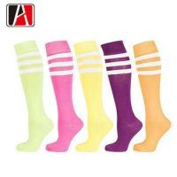 China Novelty Good Thick Long Striped Basketball Thigh High Compression Funny Knee Sock on sale