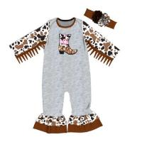 Quality New design boots embroidery newborn clothing little girl splice romper for sale