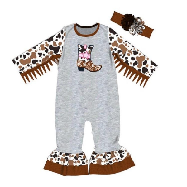 China New design boots embroidery newborn clothing little girl splice romper