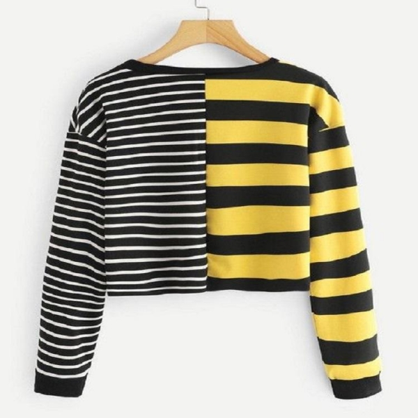 China Antumn Women Contrasting Stripes Long Sleeve T-shirt