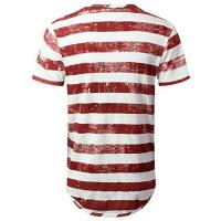 Quality Basic cotton spandex army green and white stripe tshirt plain round bottom colorful striped t-shirt for sale