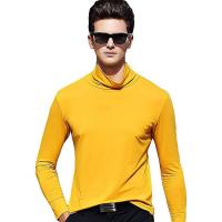Quality fashion design solid color high neck men's t-shirts long sleeves for sale