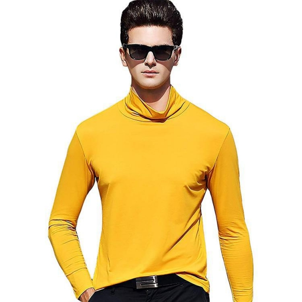 China fashion design solid color high neck men's t-shirts long sleeves
