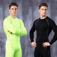 Quality gym Fitness Men Tshirt Compression shirt male long sleeve t-shirts Quick Dry Workout Clothes for sale