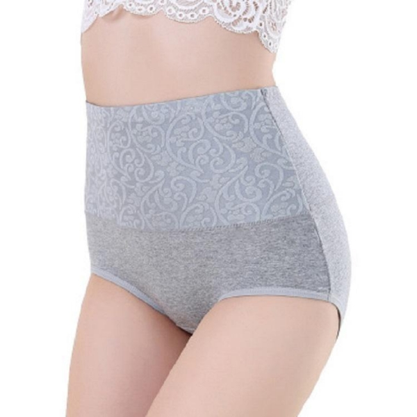 China Sexy lace high-waisted belly underwear, buttock carried bamboo fiber big yards panties