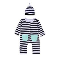 Quality Autumn winter born baby jumpsuit baby romper set with hat for sale