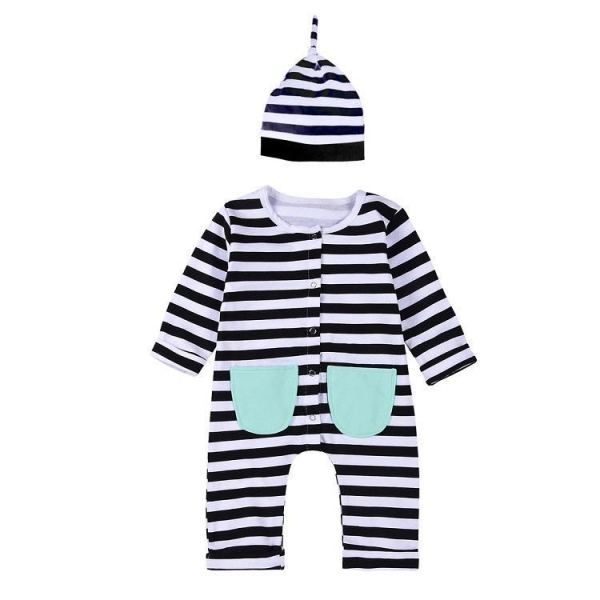 China Autumn winter born baby jumpsuit baby romper set with hat