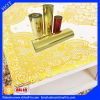 Quality PET Plastic Stamping Gold Hot Foil Roll For Table Cloth No Ripples Plastic Foils for sale