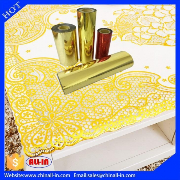 China PET Plastic Stamping Gold Hot Foil Roll For Table Cloth No Ripples Plastic Foils