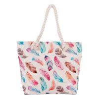 Quality Canvas Material Beach Tote Bag with Bird and Feather Flower for sale
