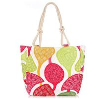 Quality Canvas Material Beach Tote Bag with heart Flower for sale
