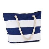 Quality Canvas Beach Bag - Beach Tote with Rope Handles, Zipper Pocket, and Water Resistant Inner Liner for sale