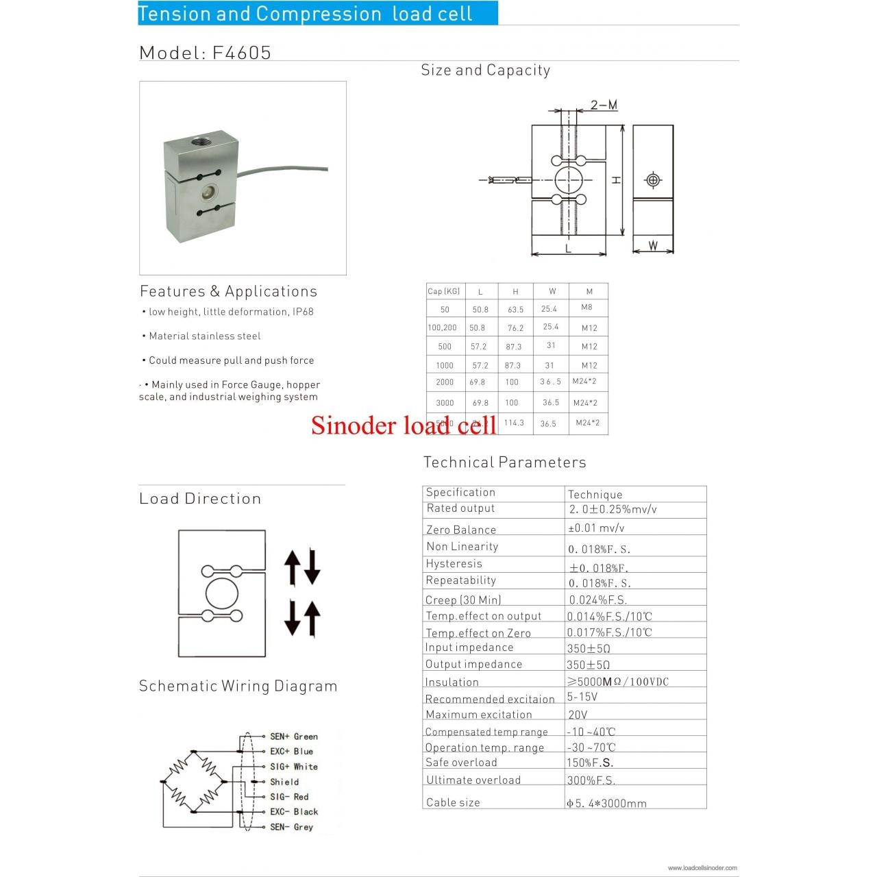 Buy cheap S type load cell F4605 50kg to 5000kg from wholesalers