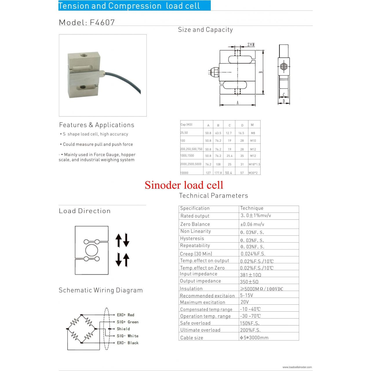 Buy cheap S type load cell F4607 25kg to 10000kg from wholesalers