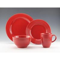 Quality 16pc Stoneware embossed solid color dinnerware HS13018 for sale
