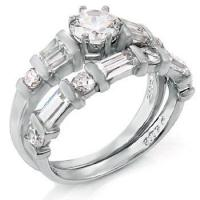 Buy cheap Rings Sterling Silver Round-Baguette-Trapzium Ring Set from wholesalers