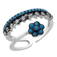 Buy cheap Rings Sterling Silver White & Black Rhodium Plating Adjustable CZ Ring from wholesalers