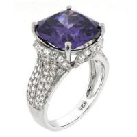 Quality Sterling Silver 12mm Cushion Cut Amethyst CZ Cocktail Ring for sale
