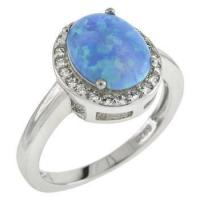 Quality Sterling Silver 7X9mm Simulated Oval Blue Opal W. CZ Ring for sale