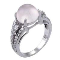 Quality Sterling Silver 10mm Rose Quazt and CZ Ring for sale
