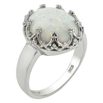 Buy Sterling Silver 10x12mm Lab Created White Opal Ring at wholesale prices