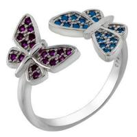 Quality Sterling Silver Bi-Color CZ Butterfly Adjustable Ring for sale