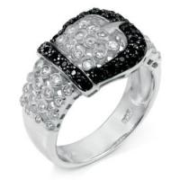 Quality Sterling Silver Black & White Cubic Zirconia Belt Buckle Ring for sale