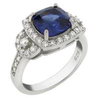 Quality Sterling Silver 8X8mm Simulated Tanzanite and CZ Cocktail Ring for sale