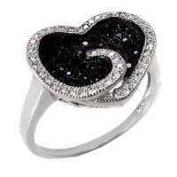 Quality Sterling Silver Black & White Pave CZ Heart Ring for sale