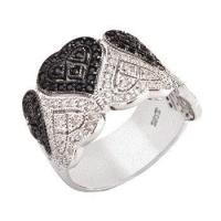 Quality Sterling Silver Black & White Cubic Zirconia Heart Band Ring for sale