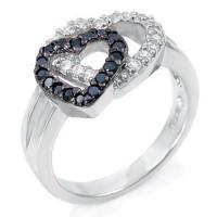 Quality Sterling Silver Black & White Double Heart CZ Ring for sale