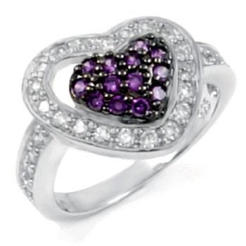 China Sterling Silver Heart Shape Amethyst & Clear Round CZ Ring