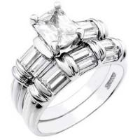China Sterling Silver Rectangle & Baguette CZ Wedding Ring Set on sale